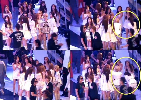 SNSD spotted bowing 90 degrees to A Pink!