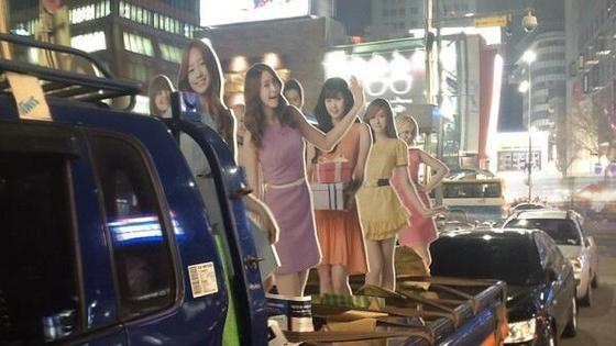 Girls`Generation commuting by truck?
