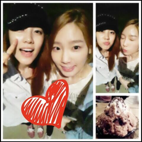 Taeyeon snapped some photos with her friend, Rainbow's NoEul!