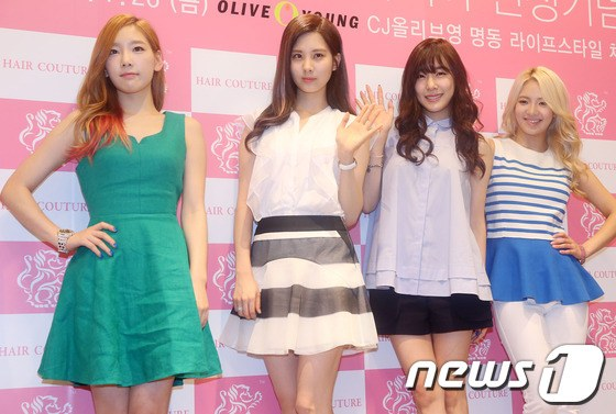 Girls' Generation's Taeyeon, Tiffany, Seohyun and Hyoyeon went out for 'Hair Couture' Signing Event.