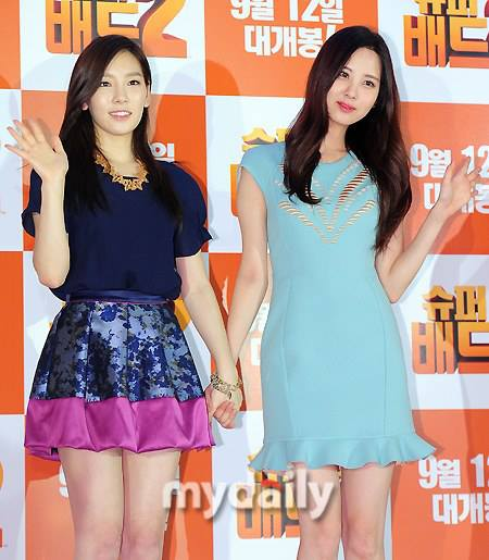 Girls`Generation's Taeyeon and Seohyun at the Event of 'Despicable Me 2'