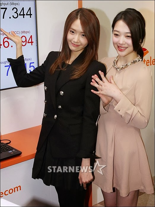 Girls`Generation's Yoona and f(x)'s Sulli at SKT's LTE-A Event!
